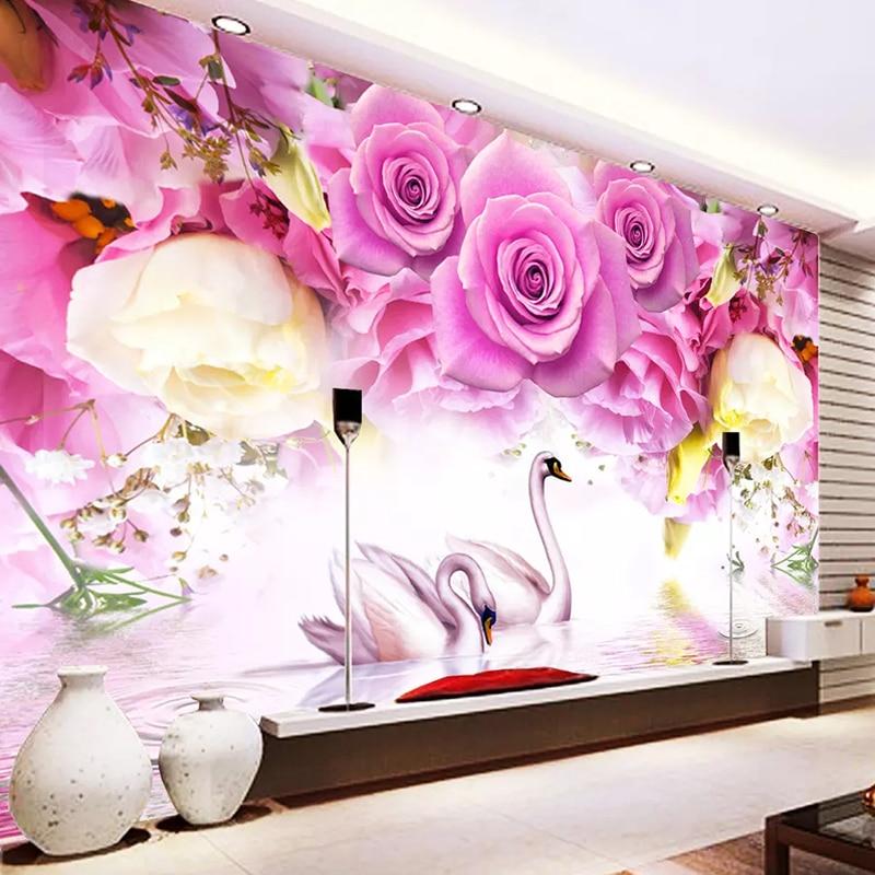 Custom Photo Wallpaper Modern Wall Painting Purple Rose Flower Swan Living Room Sofa TV Background Wall Mural Papel De Parede 3D