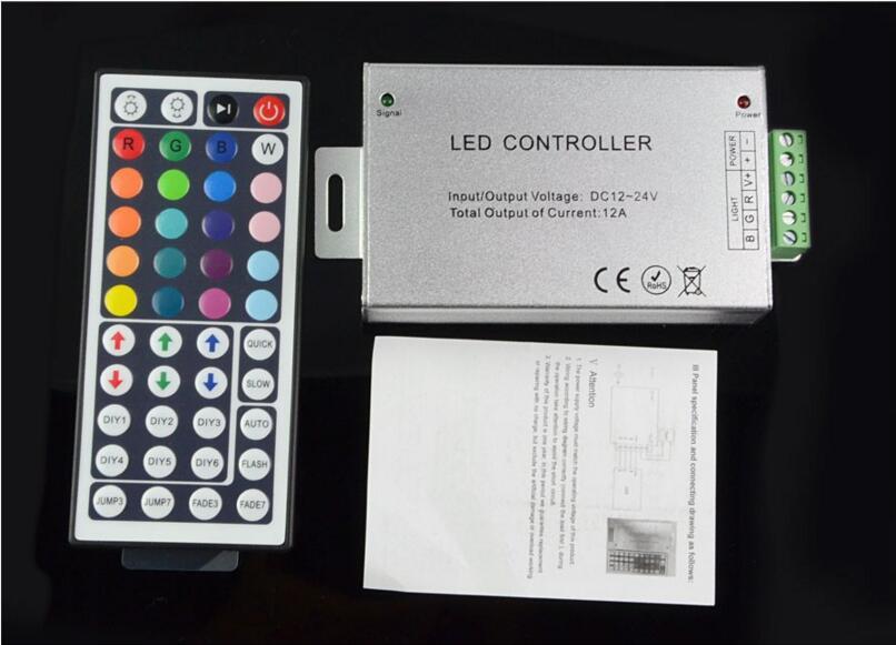 LED Controller IR Remote DC 24A 12-24V 288W 44Keys RGB