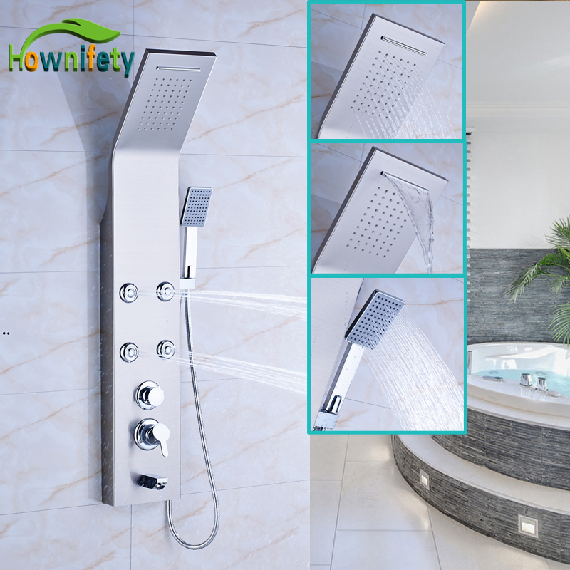Nickel Brushed Stainless Steel Bathroom Shower Faucet Single Handle Waterfall and Rainfall Shower Head with Handheld Shower цены