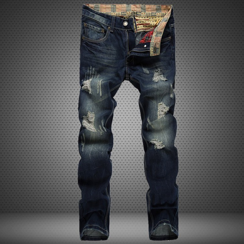 ФОТО HOT Fashion Jeans Men Ripped Distressed Destroyed Hip Hop Rock Mens Denim Pants Casual Business Pants Pantalones Vaqueros Hombre