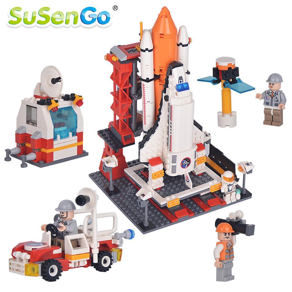 ФОТО SuSenGo Model Building Blocks Kit Space Shuttle Launch Center Rocket Astronaut Figures Spacecraft Boy Toy Gift