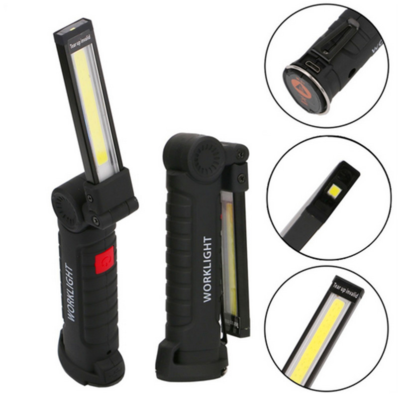 COB LED Multifunction Working Inspection Light Portable Maintenance Flashlight Hand Torch Lamp With Magnet Hook Built-in Battery 1 cob led lamp usb rechargeable built in battery led light with magnet portable flashlight outdoor camping working torch