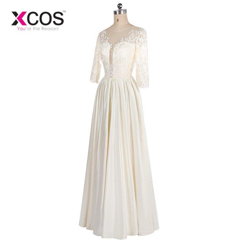 XCOS 2018 nouveauté ivoire mère de la mariée robes élégant grande taille longues robes formelles avec manches Vestido de madrinha