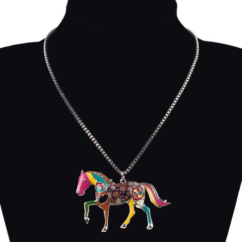 Bonsny Declaração Liga de Metal Animais Cavalo Gargantilha Colar Cadeia Collar Pingente Bulldog 2016 Moda de Nova Mulheres Jóias Esmalte