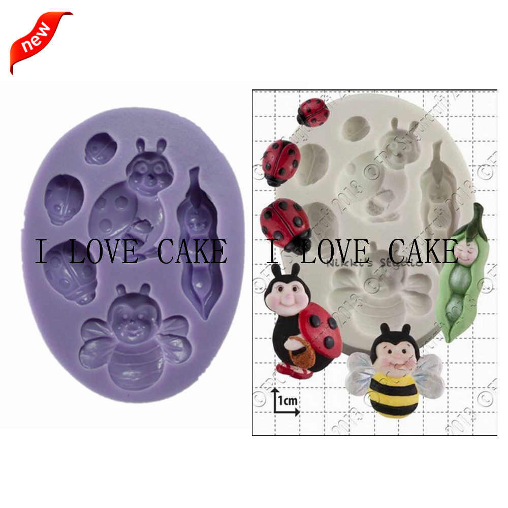Fa834 Bee Pods Baby Ladybug Kitchen Accessories Cupcake Silicone Cake Mold Fondant Cake Decorating Tools