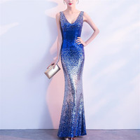 V Sparkly Shiny Sequin Beaded Mermaid Evening Party Dresses Women Floor Length Prom Gown Dress Long Blue Gold Plus Size 6xl 5xl