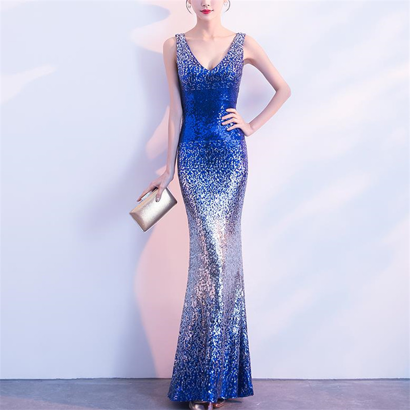 V Sparkly Shiny Sequin Beaded Mermaid Evening Party Dresses Women Floor Length Prom Gown Dress Long Blue Gold Plus Size 6xl 5xl ...