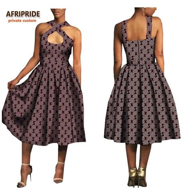 f834e9c48ca 2018 african summer sexy dress for women AFRIPRIDE sleeveless spaghetti  strap halter calf length women dress wax cotton A7225125. 1 order