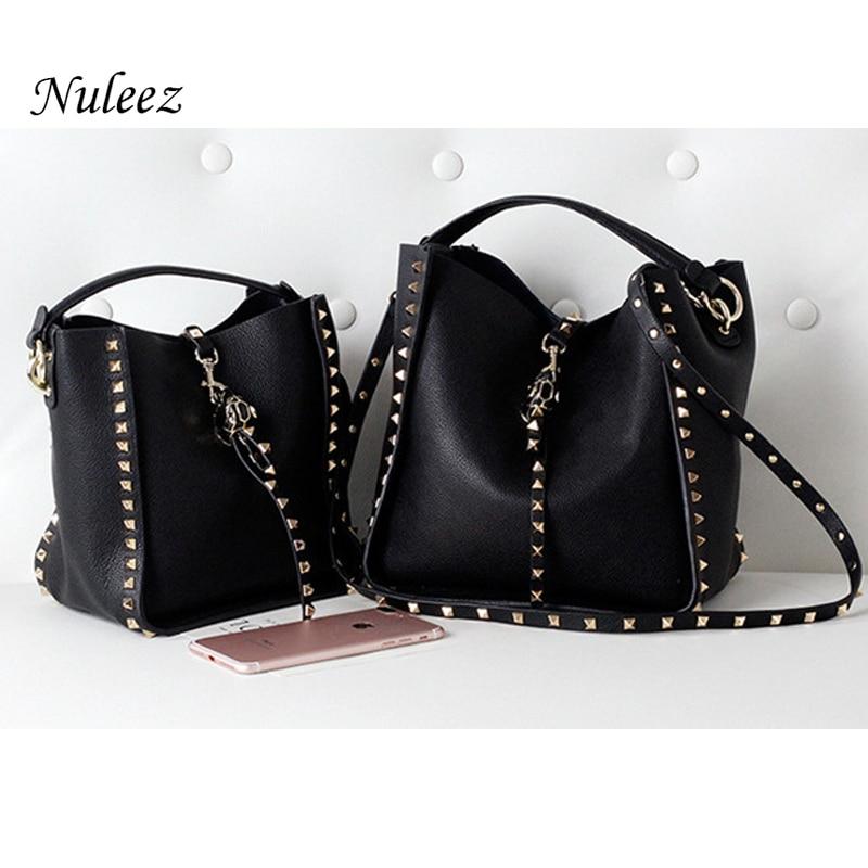 Nuleez genuine cowhide leather bag women two straps rivet decoration fashion matchable big purse 2019 new