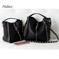 Nuleez genuine cowhide leather bag women two straps rivet decoration fashion cool big purse 2019 new
