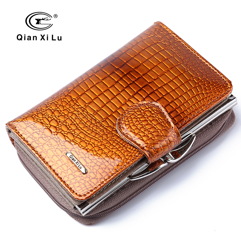 Fashion Real Patent Leather Women Short Wallets Small Wallet Coin Pocket Credit Card Wallet Female Purses Money Clip Gold color vintage women short leather wallets stylish wallet coin card pocket holder wallet female purses money clip ladies purse 7n01 18