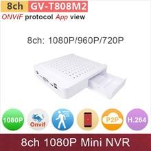 New upgrade mini NVR 8ch DVR 1080P HD ONVIF support multi-brand IP camera app view surveillance cctv system GANVIS GV-TM808M2