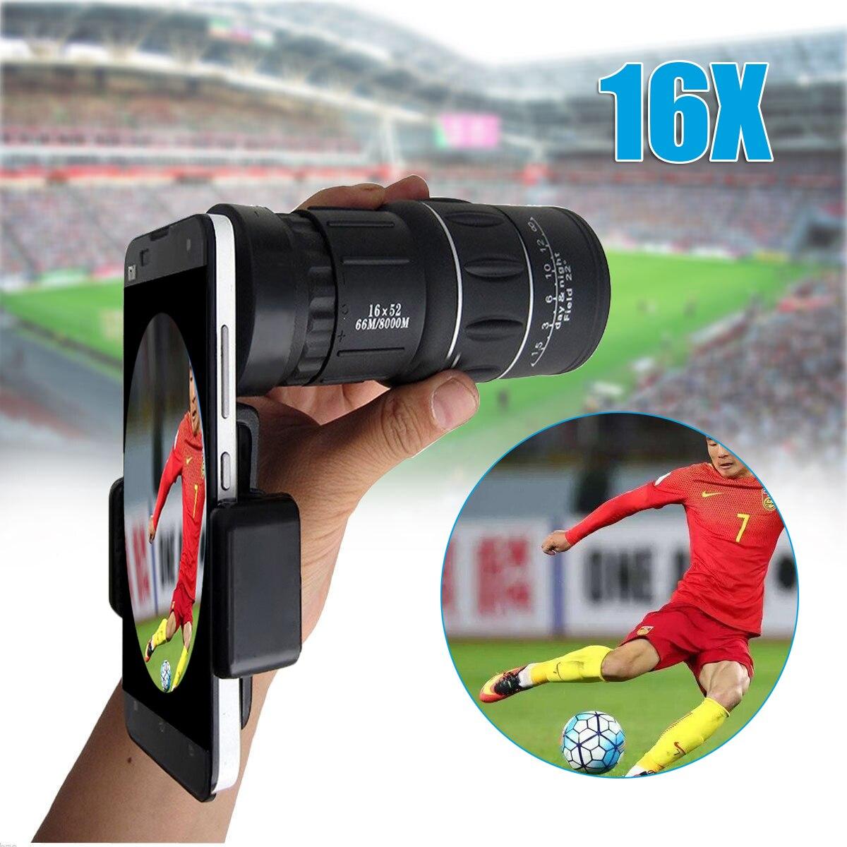 Universal 18X Zoom óptico telescopio lente Clip 16x52 teléfono móvil Cámara lente portátil Monocular para senderismo concierto
