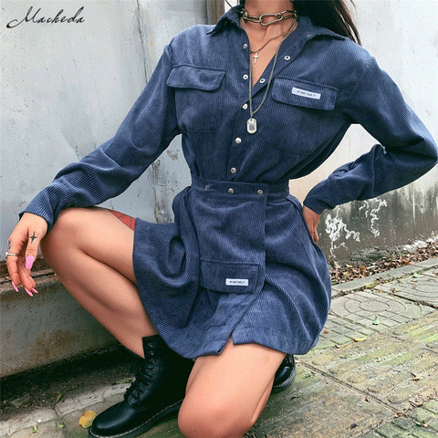Macheda Autumn Women Turn-down Collar Shirt And Skirts 2 Pieces Sets Lady Casual Streetwear Mini Skirts Wild Slim Tops 2019 New Multan