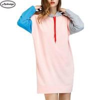 Spring Autumn Women Fashion Patchwork Hooded Hoodie Casual Long Tops OL Hoodies Sweatshirts