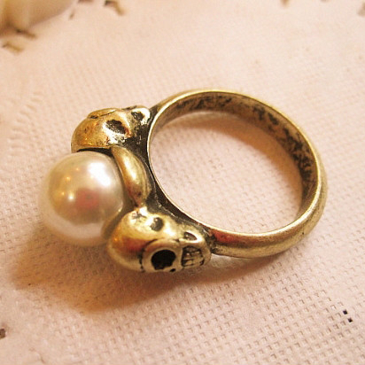 Free shipping~~DIY 0.9cm Imitation pearl vintage style double-faced Skeleton ring gift for Valentine's day