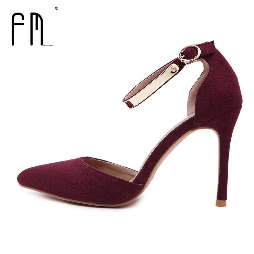 FEDIMIRO Brand Elegant Suede Leather Woman High heels 9.5CM Ankle strap Pointed toe Handmade High Heel shoes Size 34-42