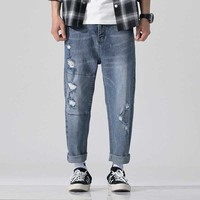 High Fashion Patchwork Ripped Jeans for Men Cotton Denim Harem Pants Casual Loose Baggy Trousers Male Clothes