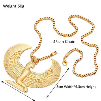 African Gift Gold Color Egyptian Queen Nefertiti,Isis,Horus Pendant Necklaces for Women Men Jewelry Wholesale Hip Hop Jewellery 1
