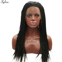 Sylvia #1B Black Braided Box Braids Synthetic Lace Front Wig Heat Resistant Hair Long Natural Micro Braided Wigs For Black Women