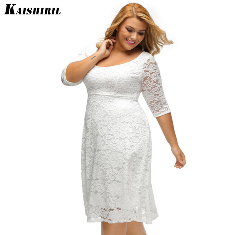 cd0d05dbcff 2018 Women Summer Dress Female Sexy Black White Lace Dresses O Neck Plus  Size XL 3XL Casual Dress For Women-in Dresses from Women s Clothing    Accessories ...