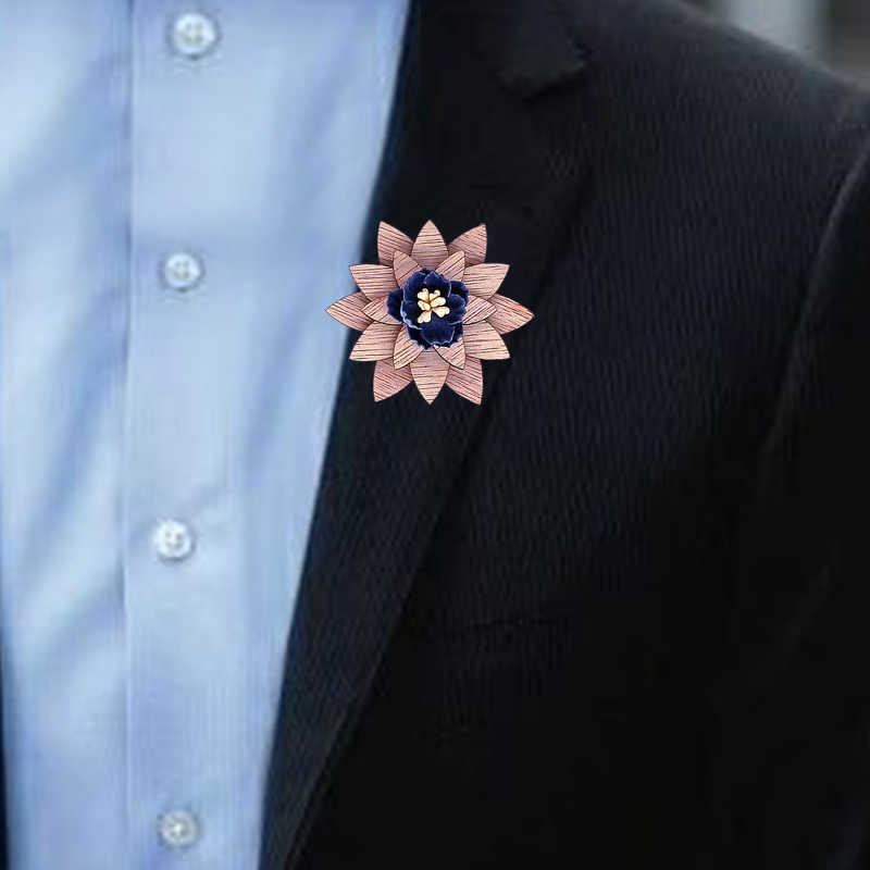 Mens Legno Risvolto fiore Spilla pin Fatti A Mano pin del Risvolto Per Gli Uomini di Nozze Vestito Del Partito di Decorazione Fiore All'occhiello Corpetto