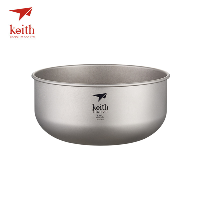 Keith 1.8L Titanium Salad Big Bowl Ultralight Pure Titanium Large Soup Bowls For Outdoor Camping Hiking Travel Tableware-in Outdoor Tablewares from Sports & Entertainment    1