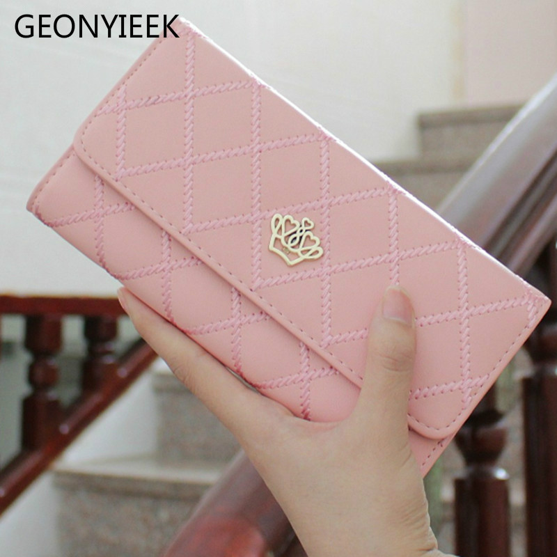 2018 Crown Plaid Long Leather Three Fold Women Wallet Luxury Brand Designer Female Purse For ID Card Holder Phone Bag Day Clutch app blog luxury brand female women s purse long fashion clutch leather wallet high quality phone key card holder bag with strap