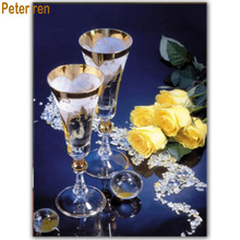 Champagne Rose diy diamond embroidery 5d square mosaic rhinestones Picture pasted full painting