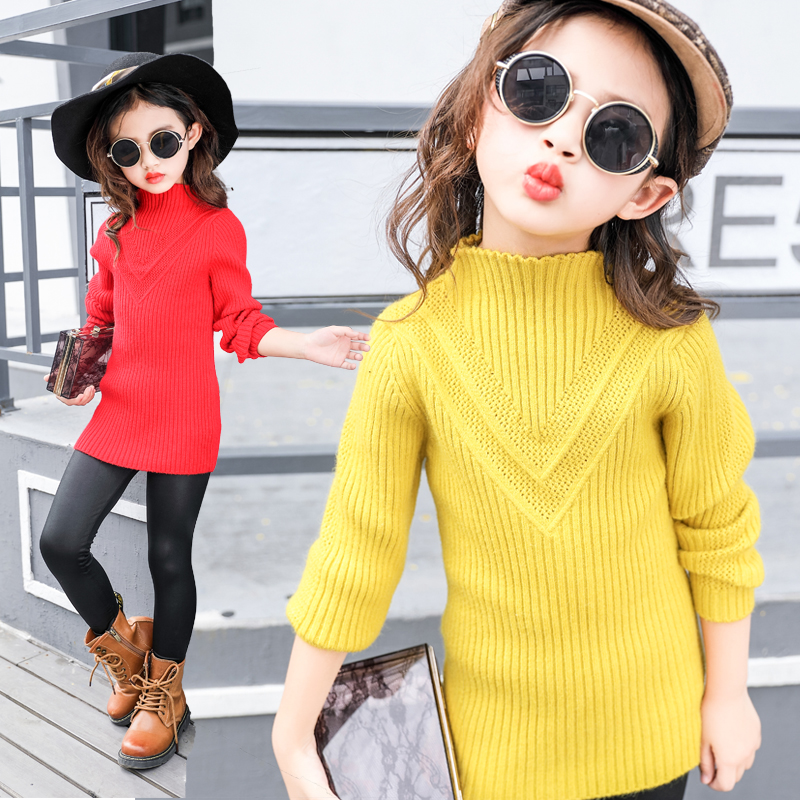 2018 New Kids Knitted Sweaters for Girls Solid Color Knitwear Child Tops Infant Pullovers 8 9 10 11 12 13 14 Year Girls Sweaters black solid color off shoulder crop bodycon sweaters vests
