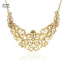 c47cc8c80823 Tocona Vintage chapado en oro plata hueco flor Collar de choque Cadena de Collar  babero encantos de la joyería para las mujeres .