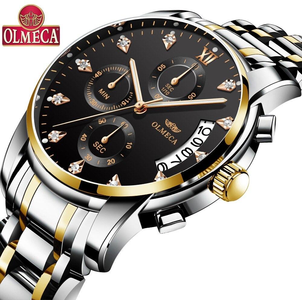 Top marque de luxe hommes Montre OLMECA Relogio Masculino en acier inoxydable hommes mode 30 M étanche Quartz horloge montres Montre