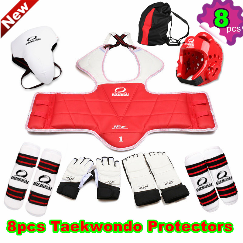 8pcs hot sale Taekwondo protectors suit Child adult TKD gloves footwear chest shin arm guard karate MMA kick Helmet groin guard