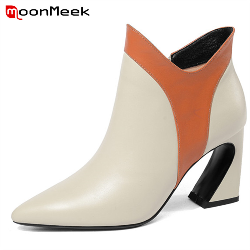 MoonMeek 2018 top quality mixed colors autumn winter boots super high heels ankle boots elegant ladies genuine leather boots цена 2017