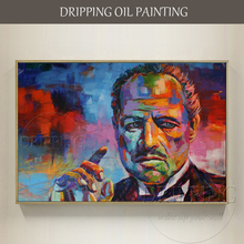 Hand-painted High Quality Abstract Portrait Godfather Oil Painting Handmade Smoking Picture