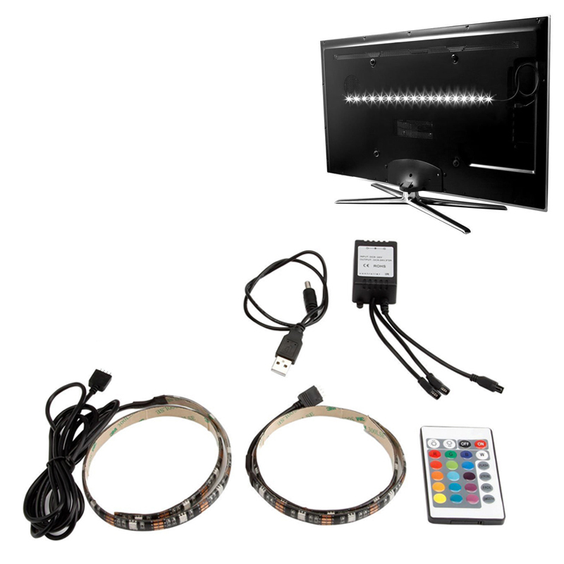 USB Powered Waterproof LED RGB 5050 Flexible Strip Light Kit with 24 key Remote Control for TV background Decoration 2x50CM
