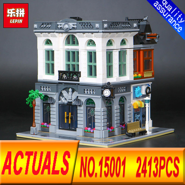 New LEPIN 15001 2413PCS  Brick Bank Model Building Kits Blocks Bricks Kits Toy Compatible With 10251 Gifts lepin 22001 pirate ship imperial warships model building kits blocks 1717pcs brick toy compatible with lepin 10210