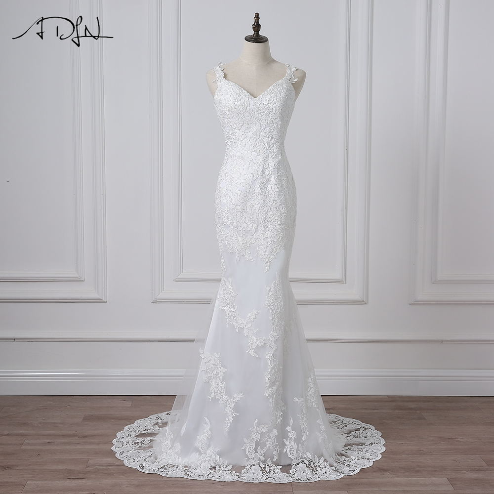 ADLN Real Photos Sexy Mermaid Wedding Dresses Spaghetti Straps Lace Applique Tulle Wedding Gowns Backless Vestidos
