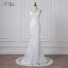 ADLN Real Photos Sexy Mermaid Wedding Dresses Spaghetti Straps Lace Applique Tulle Wedding Gowns Backless Vestidos de novia