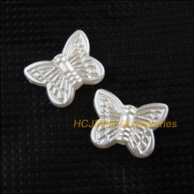 Moda 50 pçs pérola branco acrílico animal borboleta espaçador contas encantos 11x14mm