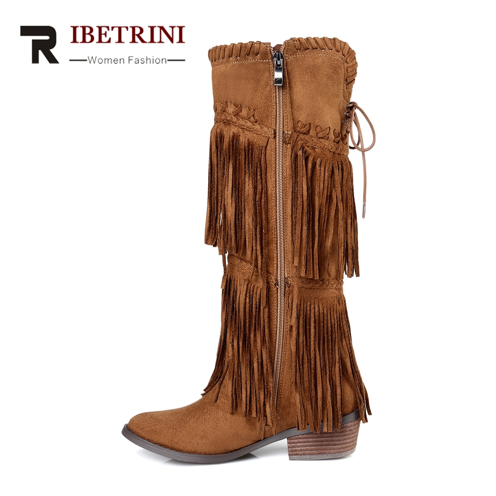 RIBETRINI 2018 Chunky Heels Fringe Shoes Woman Zip Up Knee High Boots Women Shoes Large Size 33-43 Winter Boots Shoes Woman