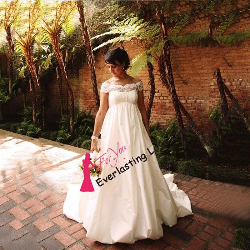 Plus Size Empire Waist Wedding Dress: Off The Shoulder Empire Taffeta Boat Neck High Waist A
