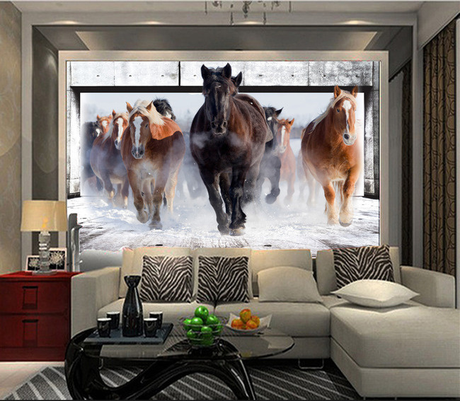 Beibehang Running Horse Contact Paper 3D Wall Mural Wallpapers For Bedroom  Wall Paper Painting Colorful Custom Photo Wallpaper In Wallpapers From Home  ... Part 17