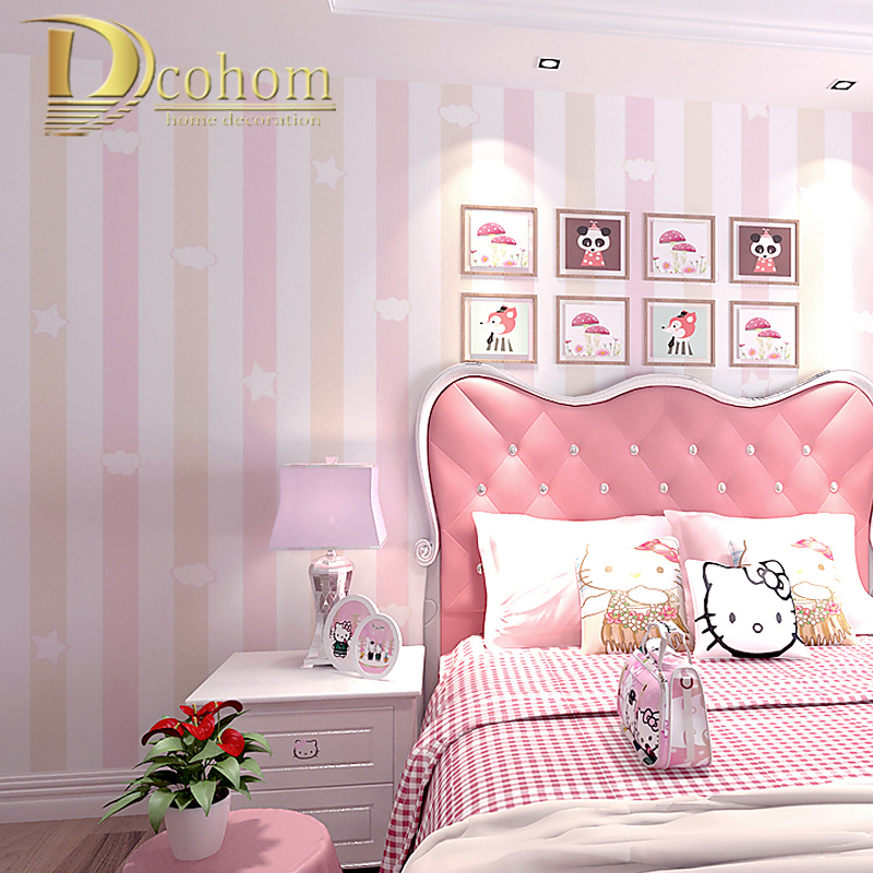 bedroom children wallpapers boy paper clouds roll wallcovering cartoon childrens papers woven stripes vertical princess stars non aliexpress