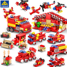 414pcs  City Fire Station Building Blocks Sets Truck Firefighter Plane Bricks Hobbies Educational Toys for children banbao 7110 fire station firefighters truck helicopter educational building blocks model toy bricks for children kids friends