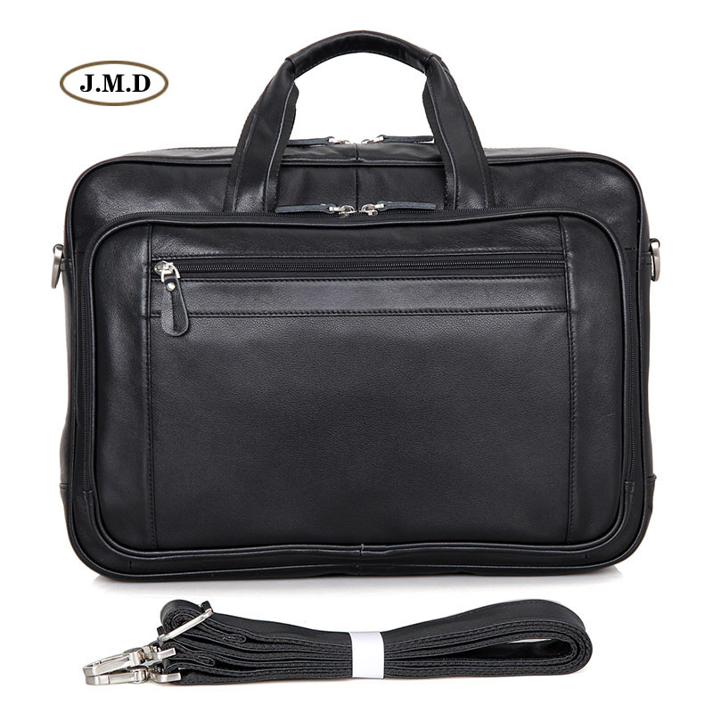 J.M.D 100% Genuine Leather High Quality Black Men's Briefcase Business Travel Bag Classic Style Portable Laptop Handbag 7367A 247 classic leather