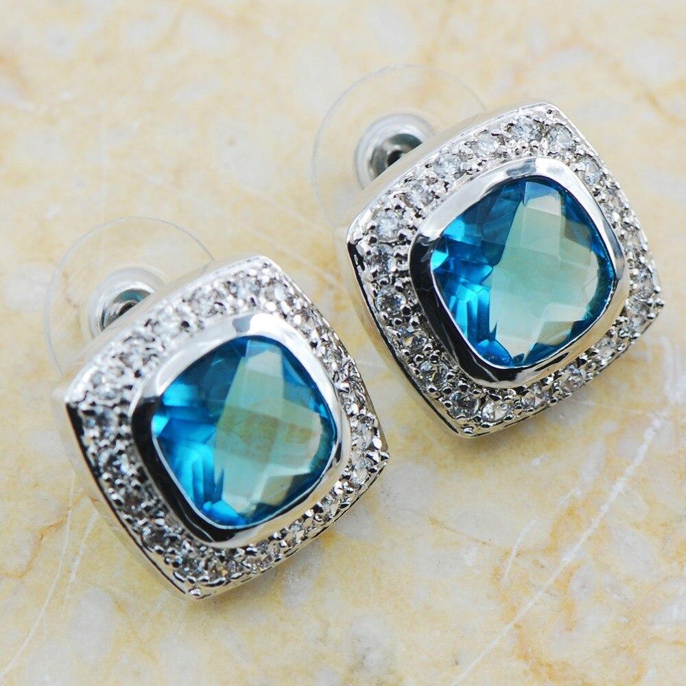 Simulated Aquamarine 925 Sterling Silver Earrings TE605