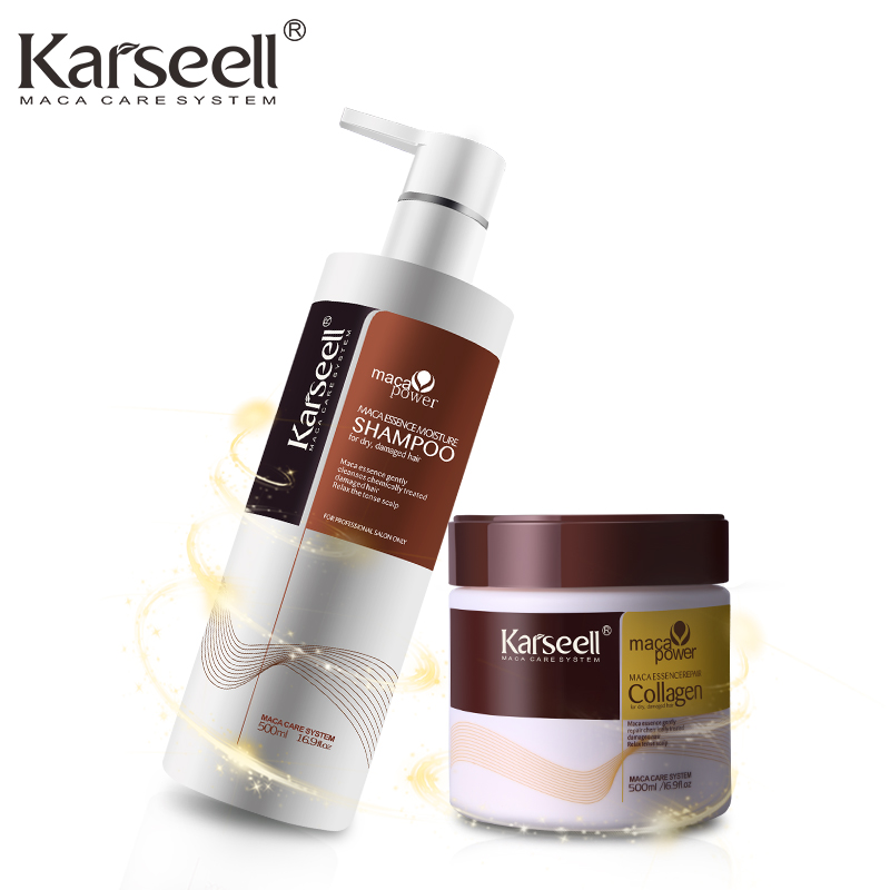 Shampoo & Hair Mask Keratin Straightening 500ml*2 Hair Treatment Argan Oil Nut Hair Care Sets Soft Conditioner Repair Hair Scalp