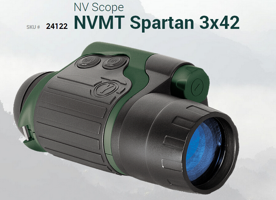 Original Yukon night vision scope 3X 24122 NVMT Spartan 3x42 hunting night vision monocular with infrared NVMT Spartan 3x24