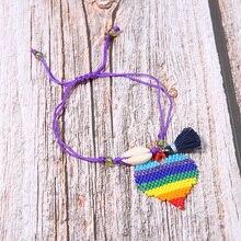 Trendy Shell Tassel Women Bracelets Miyuki Glass Beads Handmade Colorful Heart Pendant Charm Female Pulsera Jewelry